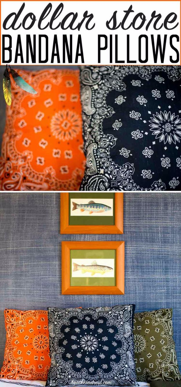 DIY Ideas With Bandanas - DIY Bandana Pillows - Bandana Crafts and Decor Projects Made With A Bandana - No Sew Ideas, Bags, Bracelets, Hats, Halter Tops, Blankets and Quilts, Headbands, Simple Craft Project Tutorials for Kids and Teens - Home Decoration and Country Themed Crafts To Make and Sell On Etsy http://diyjoy.com/diy-ideas-bandanas