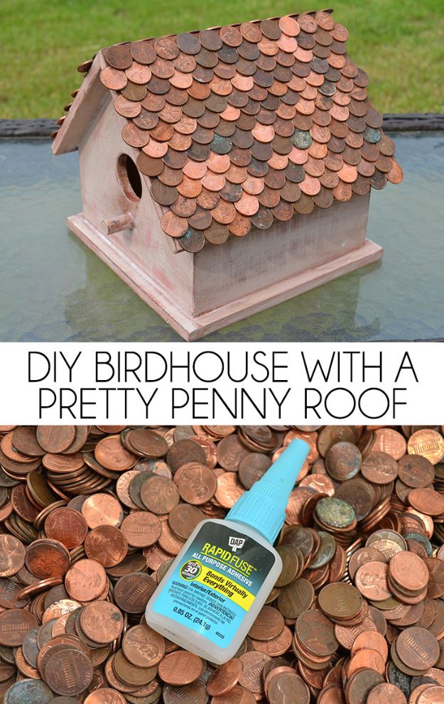 DIY Bird Houses - DIY Birdhouse With A Pretty Penny Roof - Easy Bird House Ideas for Kids and Adult To Make - Free Plans and Tutorials for Wooden, Simple, Upcyle Designs, Recycle Plastic and Creative Ways To Make Rustic Outdoor Decor and a Home for the Birds - Fun Projects for Your Backyard This Summer http://diyjoy.com/diy-bird-houses