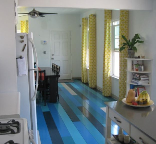 DIY Flooring Projects - DIY Blue Floors - Cheap Floor Ideas for Those On A Budget - Inexpensive Ways To Refinish Floors With Concrete, Laminate, Plywood, Peel and Stick Tile, Wood, Vinyl - Easy Project Plans and Unique Creative Tutorials for Cool Do It Yourself Home Decor http://diyjoy.com/diy-flooring-projects