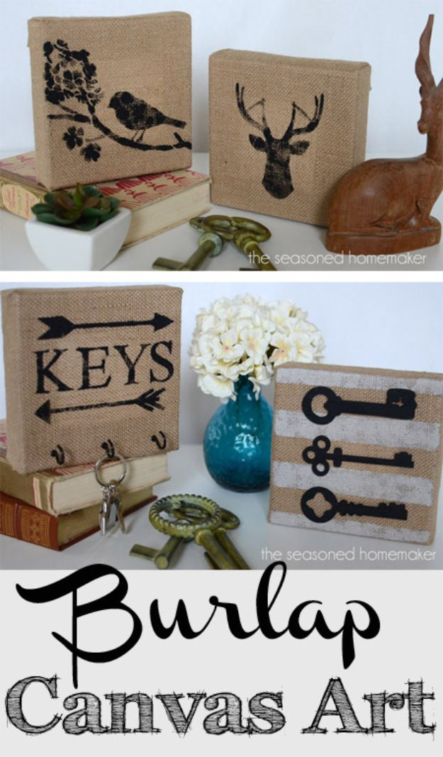 DIY Burlap Ideas - DIY Burlap Canvas Art - Burlap Furniture, Home Decor and Crafts - Banners and Buntings, Wall Art, Ottoman from Coffee Sacks, Wreath, Centerpieces and Table Runner - Kitchen, Bedroom, Living Room, Bathroom Ideas - Shabby Chic Craft Projects and DIY Wedding Decor http://diyjoy.com/diy-burlap-decor-ideas
