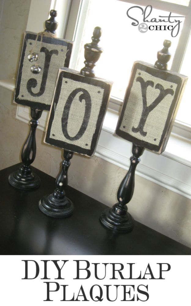 DIY Burlap Ideas - DIY Burlap Plaques - Burlap Furniture, Home Decor and Crafts - Banners and Buntings, Wall Art, Ottoman from Coffee Sacks, Wreath, Centerpieces and Table Runner - Kitchen, Bedroom, Living Room, Bathroom Ideas - Shabby Chic Craft Projects and DIY Wedding Decor http://diyjoy.com/diy-burlap-decor-ideas