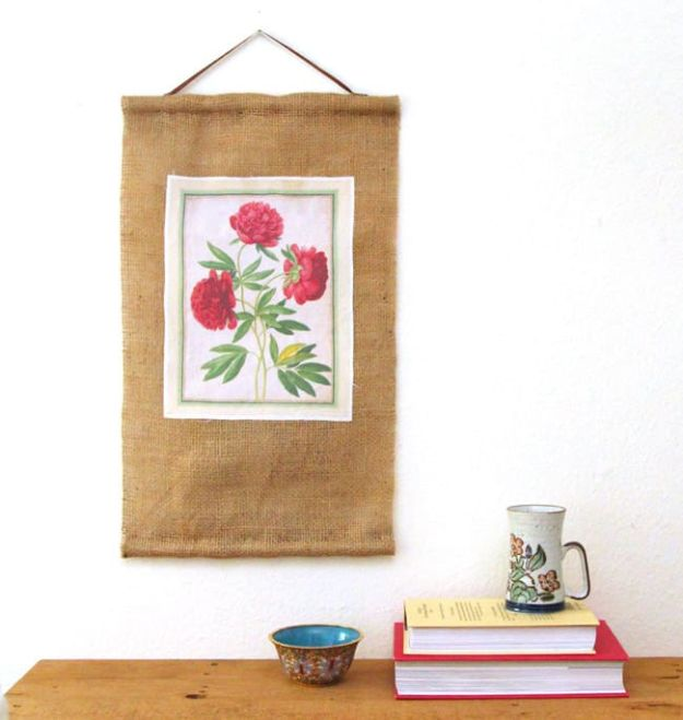 DIY Burlap Ideas - DIY Burlap Wall Scroll - Burlap Furniture, Home Decor and Crafts - Banners and Buntings, Wall Art, Ottoman from Coffee Sacks, Wreath, Centerpieces and Table Runner - Kitchen, Bedroom, Living Room, Bathroom Ideas - Shabby Chic Craft Projects and DIY Wedding Decor http://diyjoy.com/diy-burlap-decor-ideas