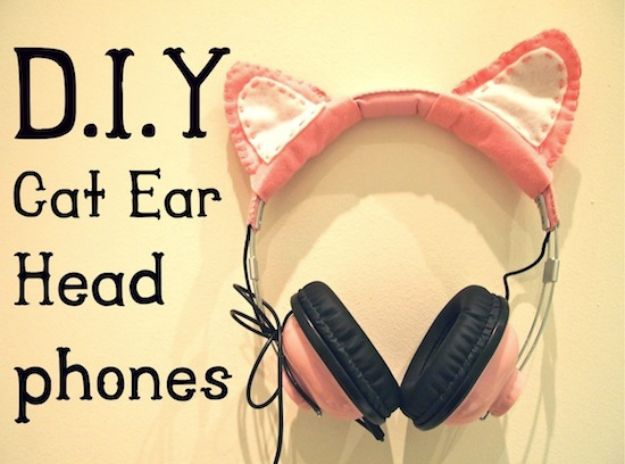 DIY Ideas With Cats - DIY Cat Ear Headphones - Cute and Easy DIY Projects for Cat Lovers - Wall and Home Decor Projects, Things To Make and Sell on Etsy - Quick Gifts to Make for Friends Who Have Kittens and Kitties - Homemade No Sew Projects- Fun Jewelry, Cool Clothes, Pillows and Kitty Accessories http://diyjoy.com/diy-ideas-cats