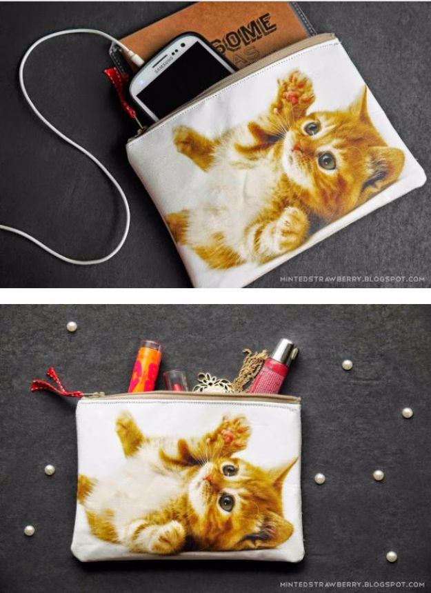 DIY Ideas With Cats - DIY Cat Photo Pouch - Cute and Easy DIY Projects for Cat Lovers - Wall and Home Decor Projects, Things To Make and Sell on Etsy - Quick Gifts to Make for Friends Who Have Kittens and Kitties - Homemade No Sew Projects- Fun Jewelry, Cool Clothes, Pillows and Kitty Accessories http://diyjoy.com/diy-ideas-cats