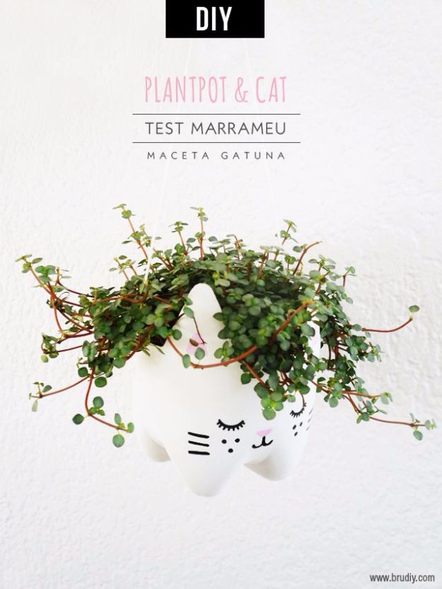 DIY Ideas With Cats - DIY Cat Planter - Cute and Easy DIY Projects for Cat Lovers - Wall and Home Decor Projects, Things To Make and Sell on Etsy - Quick Gifts to Make for Friends Who Have Kittens and Kitties - Homemade No Sew Projects- Fun Jewelry, Cool Clothes, Pillows and Kitty Accessories http://diyjoy.com/diy-ideas-cats