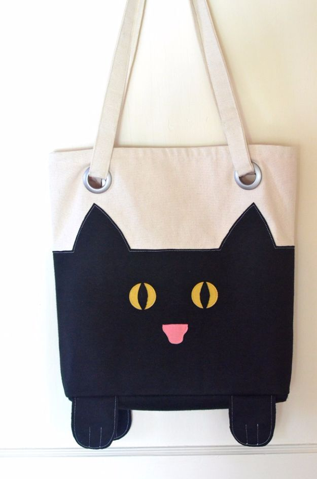 DIY Ideas With Cats - DIY Cat Tote - Cute and Easy DIY Projects for Cat Lovers - Wall and Home Decor Projects, Things To Make and Sell on Etsy - Quick Gifts to Make for Friends Who Have Kittens and Kitties - Homemade No Sew Projects- Fun Jewelry, Cool Clothes, Pillows and Kitty Accessories http://diyjoy.com/diy-ideas-cats