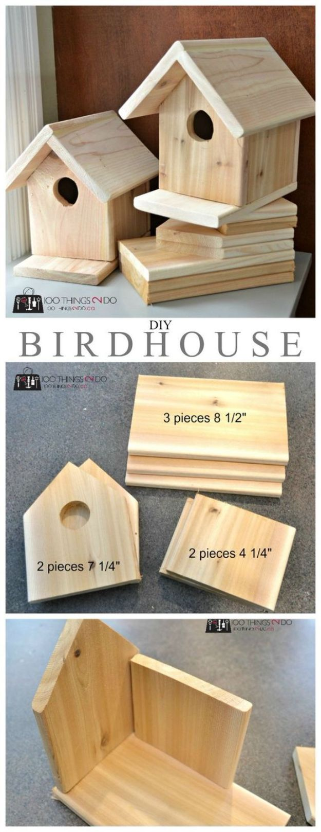 DIY Bird Houses - DIY Cedar Birdhouse - Easy Bird House Ideas for Kids and Adult To Make - Free Plans and Tutorials for Wooden, Simple, Upcyle Designs, Recycle Plastic and Creative Ways To Make Rustic Outdoor Decor and a Home for the Birds - Fun Projects for Your Backyard This Summer