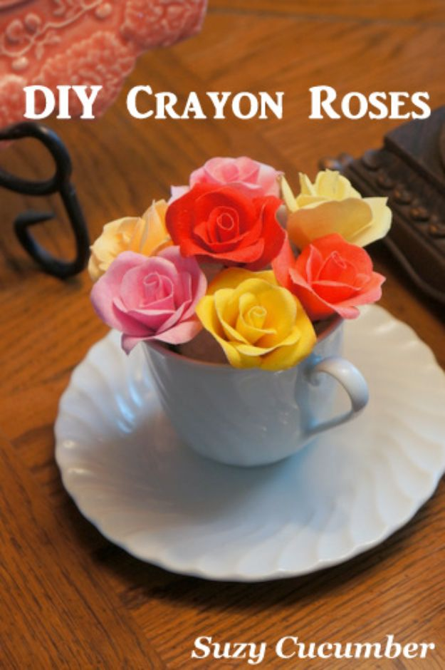 Rose Crafts - DIY Crayon Roses - Easy Craft Projects With Roses - Paper Flowers, Quilt Patterns, DIY Rose Art for Kids - Dried and Real Roses for Wall Art and Do It Yourself Home Decor - Mothers Day Gift Ideas - Fake Rose Arrangements That Look Amazing - Cute Centerrpieces and Crafty DIY Gifts With A Rose http://diyjoy.com/rose-crafts
