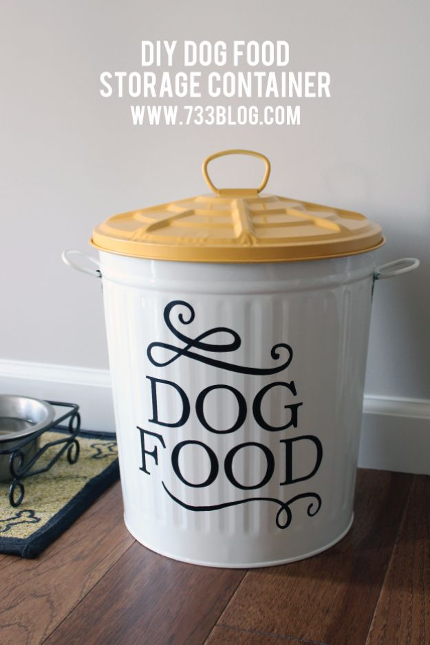 DIY Ideas With Dogs - DIY Dog Food Storage Container - Cute and Easy DIY Projects for Dog Lovers - Wall and Home Decor Projects, Things To Make and Sell on Etsy - Quick Gifts to Make for Friends Who Have Puppies and Doggies - Homemade No Sew Projects- Fun Jewelry, Cool Clothes and Accessories #dogs #crafts #diyideas