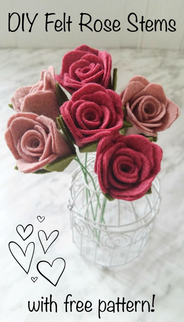 Rose Crafts - DIY Felt Rose Stems - Easy Craft Projects With Roses - Paper Flowers, Quilt Patterns, DIY Rose Art for Kids - Dried and Real Roses for Wall Art and Do It Yourself Home Decor - Mothers Day Gift Ideas - Fake Rose Arrangements That Look Amazing - Cute Centerrpieces and Crafty DIY Gifts With A Rose http://diyjoy.com/rose-crafts