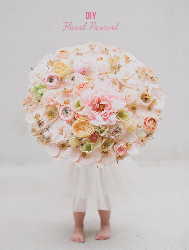DIY Flowers for Weddings - DIY Floral Parasol - Centerpieces, Bouquets, Arrangements for Wedding Ceremony - Aisle Ideas, Rustic Bouquet Projects - Paper, Cheap, Fake Floral, Silk Flower Centerpiece To Make For Brides on A Budget - Decor for Spring, Summer, Winter and Fall http://diyjoy.com/diy-flowers-for-weddings