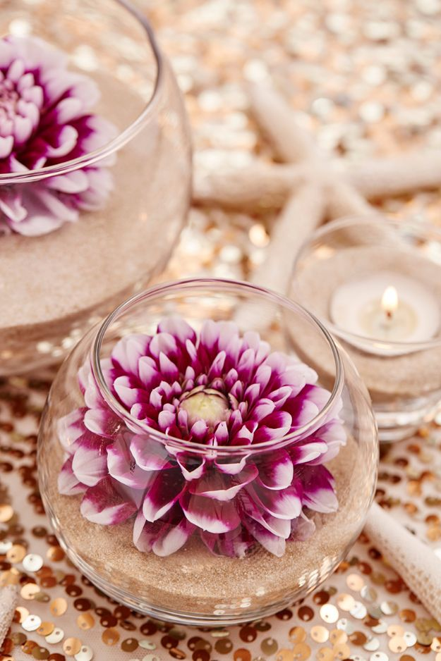 DIY Flowers for Weddings - DIY Flower & Sand Wedding Centerpieces - Centerpieces, Bouquets, Arrangements for Wedding Ceremony - Aisle Ideas, Rustic Bouquet Projects - Paper, Cheap, Fake Floral, Silk Flower Centerpiece To Make For Brides on A Budget - Decor for Spring, Summer, Winter and Fall http://diyjoy.com/diy-flowers-for-weddings