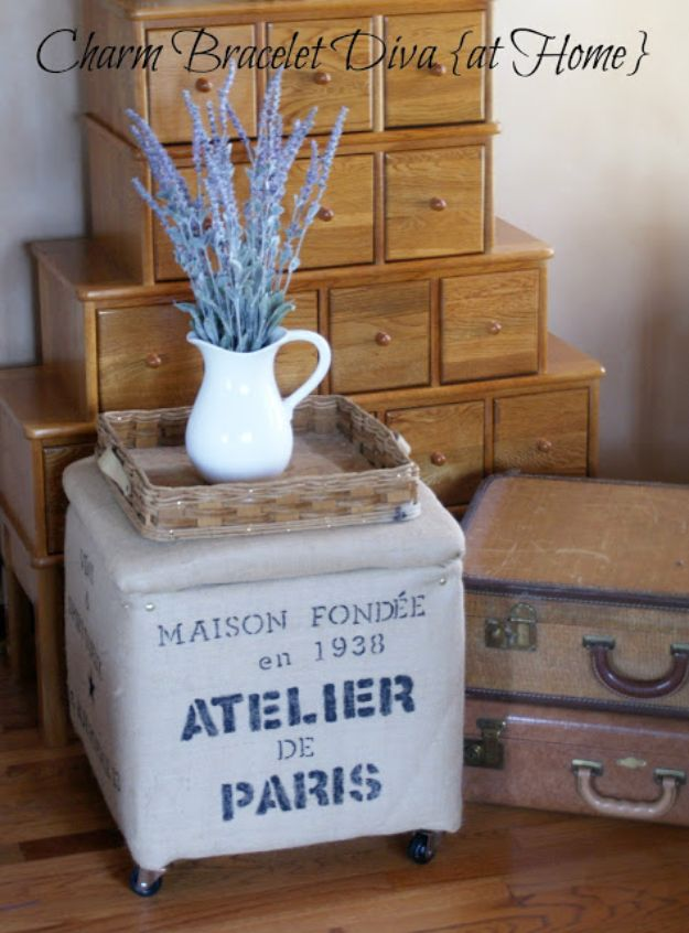 DIY Burlap Ideas - DIY French Burlap Storage Ottoman - Burlap Furniture, Home Decor and Crafts - Banners and Buntings, Wall Art, Ottoman from Coffee Sacks, Wreath, Centerpieces and Table Runner - Kitchen, Bedroom, Living Room, Bathroom Ideas - Shabby Chic Craft Projects and DIY Wedding Decor http://diyjoy.com/diy-burlap-decor-ideas