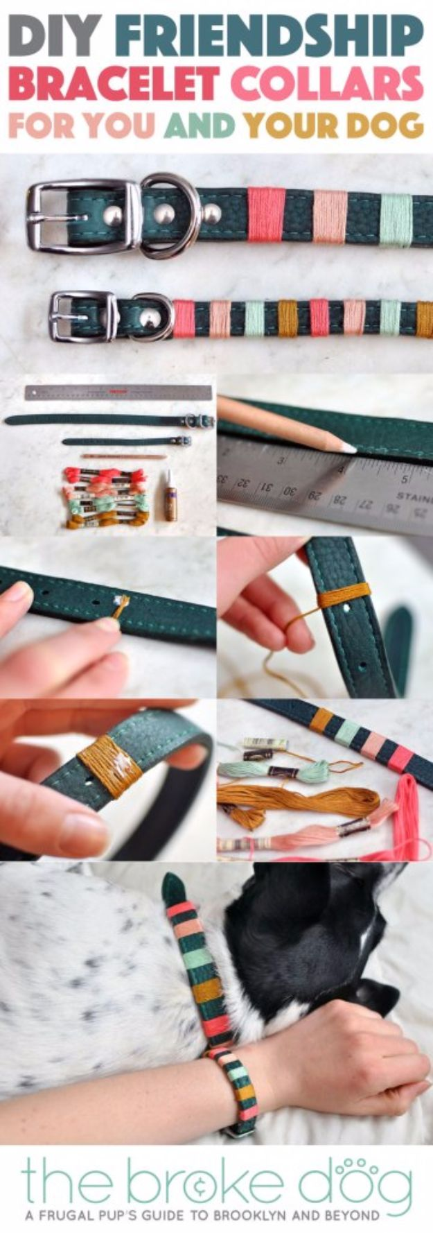 DIY Ideas With Dogs - DIY Friendship Bracelet Collars For You And Your Dog - Cute and Easy DIY Projects for Dog Lovers - Wall and Home Decor Projects, Things To Make and Sell on Etsy - Quick Gifts to Make for Friends Who Have Puppies and Doggies - Homemade No Sew Projects- Fun Jewelry, Cool Clothes and Accessories #dogs #crafts #diyideas