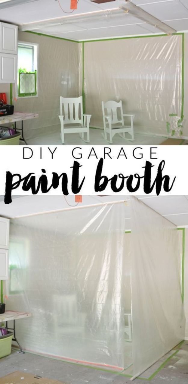 DIY Painting Hacks - DIY Garage Paint Booth - Easy Ways To Shortcut House Painting - Wall Prep, Painters Tape, Trim, Edging, Ceiling, Exterior Cutting In, Furniture and Crafts Paint Tips - Paint Your House Or Your Room With These Time Saving Painter Hacks and Quick Tricks http://diyjoy.com/diy-painting-hacks