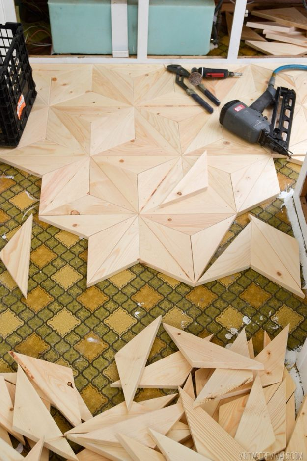 DIY Flooring Projects - DIY Geometric Wood Flooring for $80 - Cheap Floor Ideas for Those On A Budget - Inexpensive Ways To Refinish Floors With Concrete, Laminate, Plywood, Peel and Stick Tile, Wood, Vinyl - Easy Project Plans and Unique Creative Tutorials for Cool Do It Yourself Home Decor #diy #flooring #homeimprovement