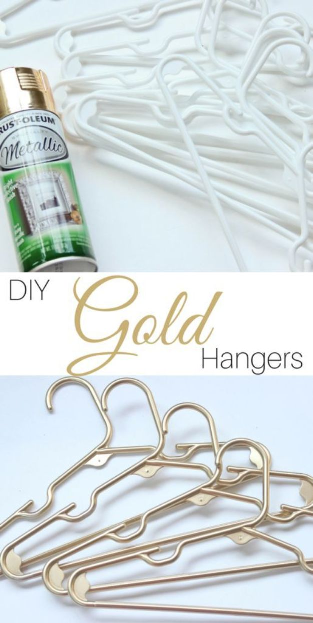 DIY Painting Hacks - DIY Gold Plastic Hangers - Easy Ways To Shortcut House Painting - Wall Prep, Painters Tape, Trim, Edging, Ceiling, Exterior Cutting In, Furniture and Crafts Paint Tips - Paint Your House Or Your Room With These Time Saving Painter Hacks and Quick Tricks http://diyjoy.com/diy-painting-hacks