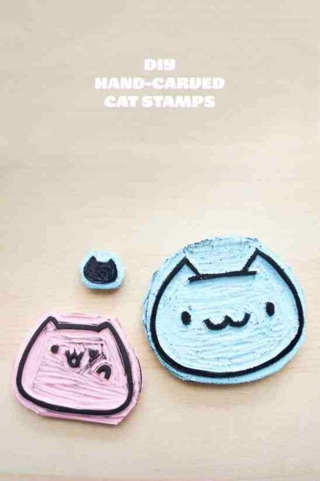 DIY Ideas With Cats - DIY Hand Carved Cat Stamps - Cute and Easy DIY Projects for Cat Lovers - Wall and Home Decor Projects, Things To Make and Sell on Etsy - Quick Gifts to Make for Friends Who Have Kittens and Kitties - Homemade No Sew Projects- Fun Jewelry, Cool Clothes, Pillows and Kitty Accessories http://diyjoy.com/diy-ideas-cats