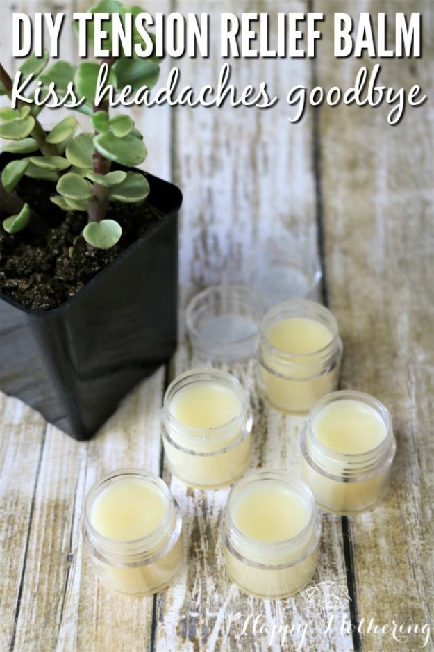 DIY Home Remedies - DIY Headache and Tension Relief Balm - Homemade Recipes and Ideas for Help Relieve Symptoms of Cold and Flu, Upset Stomach, Rash, Cough, Sore Throat, Headache and Illness - Skincare Products, Balms, Lotions and Teas - Homeopathic Solutions and Remedy for Common Sickness http://diyjoy.com/diy-home-remedies