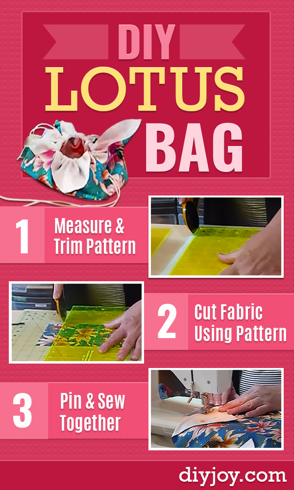 DIY Sewing Project Idea - Free Sewing Projects and Patterns - step by step tutorial video How to Make a Lotus Bag - Easy DIY Christmas Gifts #sewing #sewingprojects #videos