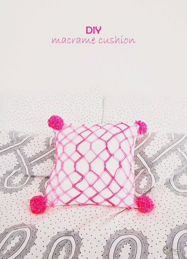 Macrame Crafts - DIY Macrame Cushion - DIY Ideas and Easy Macrame Projects for Home Decor, Gifts and Wall Art - Cool Bracelets, Plant Holders, Beautiful Dream Catchers, Things To Make and Sell on Etsy, How To Make Knots for Your Macrame Craft Projects, Fun Ideas Even Kids and Teens Can Make #macrame #crafts #diyideas