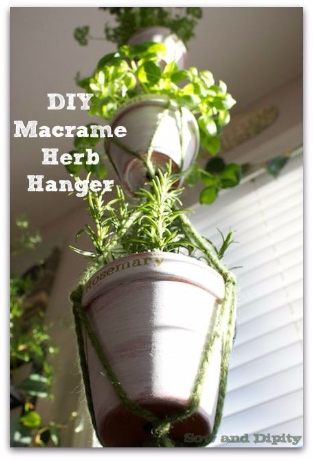 Macrame Crafts - DIY Macrame Herb Hanger - DIY Ideas and Easy Macrame Projects for Home Decor, Gifts and Wall Art - Cool Bracelets, Plant Holders, Beautiful Dream Catchers, Things To Make and Sell on Etsy, How To Make Knots for Your Macrame Craft Projects, Fun Ideas Even Kids and Teens Can Make #macrame #crafts #diyideas