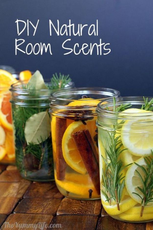 DIY Home Fragrance Ideas - DIY Mason Jar Natural Room Scents - Easy Ways To Make your House and Home Smell Good - Essential Oils, Diffusers, DIY Lampe Berger Oil, Candles, Room Scents and Homemade Recipes for Odor Removal - Relaxing Lavender, Fresh Clean Smells, Lemon, Herb http://diyjoy.com/diy-home-fragrance-ideas