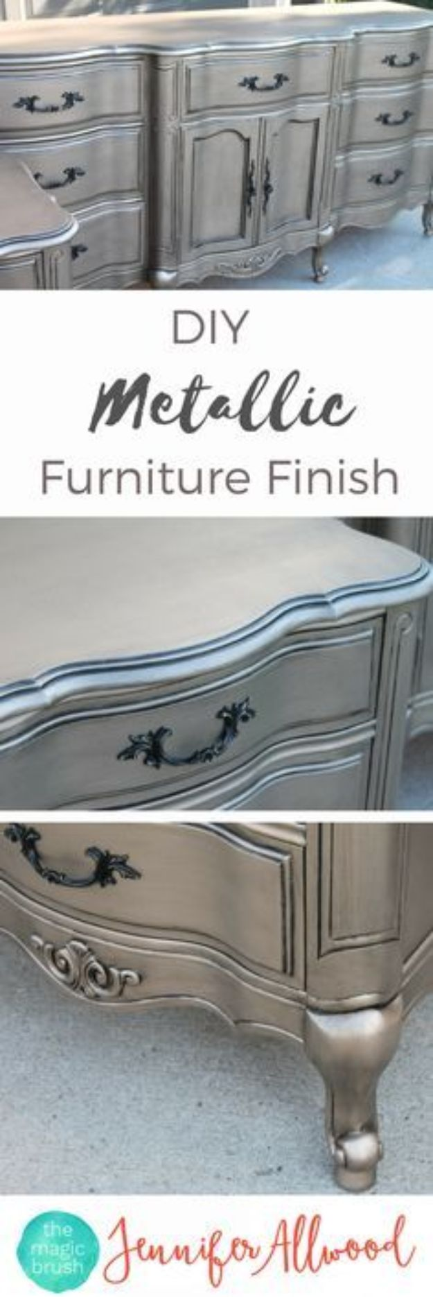 DIY Painting Hacks - DIY Metallic Furniture Finish - Easy Ways To Shortcut House Painting - Wall Prep, Painters Tape, Trim, Edging, Ceiling, Exterior Cutting In, Furniture and Crafts Paint Tips - Paint Your House Or Your Room With These Time Saving Painter Hacks and Quick Tricks http://diyjoy.com/diy-painting-hacks