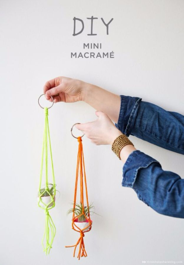Macrame Crafts - DIY Mini Macrame Hangers - DIY Ideas and Easy Macrame Projects for Home Decor, Gifts and Wall Art - Cool Bracelets, Plant Holders, Beautiful Dream Catchers, Things To Make and Sell on Etsy, How To Make Knots for Your Macrame Craft Projects, Fun Ideas Even Kids and Teens Can Make #macrame #crafts #diyideas