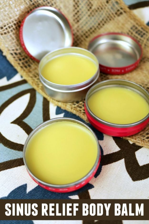 DIY Home Remedies - DIY Natural Sinus Relief Body Balm - Homemade Recipes and Ideas for Help Relieve Symptoms of Cold and Flu, Upset Stomach, Rash, Cough, Sore Throat, Headache and Illness - Skincare Products, Balms, Lotions and Teas