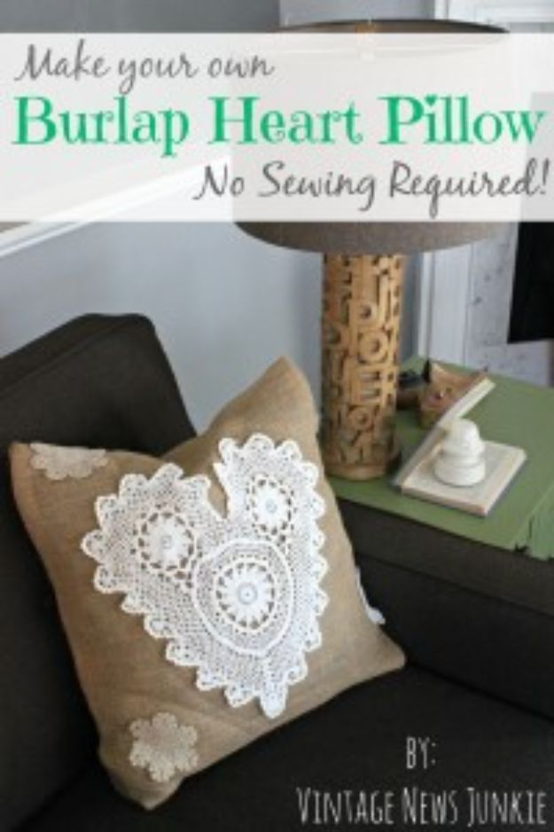 DIY Burlap Ideas - DIY No-Sew Burlap Heart Pillow - Burlap Furniture, Home Decor and Crafts - Banners and Buntings, Wall Art, Ottoman from Coffee Sacks, Wreath, Centerpieces and Table Runner - Kitchen, Bedroom, Living Room, Bathroom Ideas - Shabby Chic Craft Projects and DIY Wedding Decor http://diyjoy.com/diy-burlap-decor-ideas