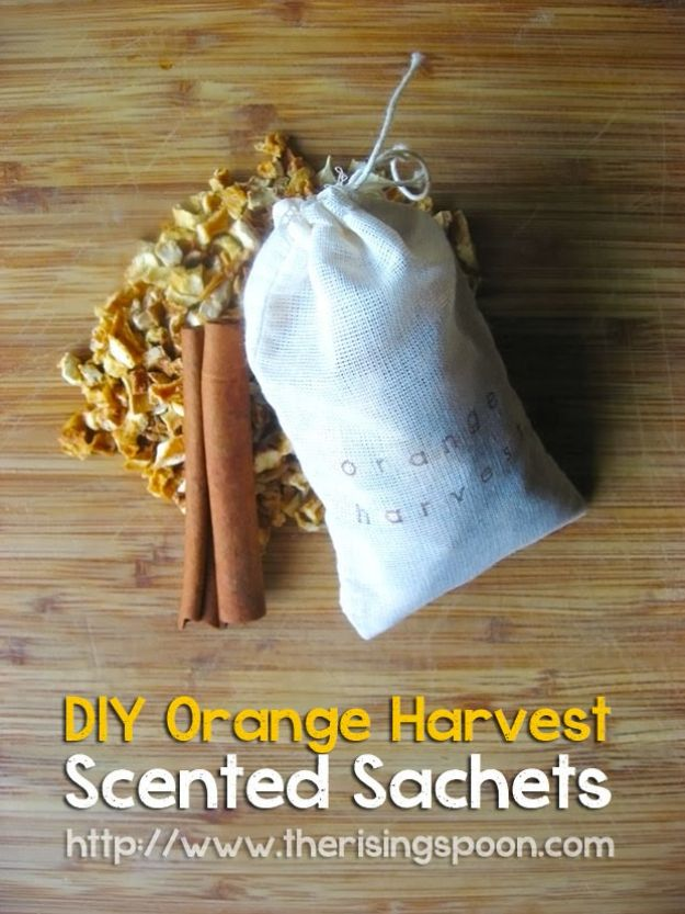 DIY Home Fragrance Ideas - DIY Orange Harvest Scented Muslin Tea Bag Sachets - Easy Ways To Make your House and Home Smell Good - Essential Oils, Diffusers, DIY Lampe Berger Oil, Candles, Room Scents and Homemade Recipes for Odor Removal - Relaxing Lavender, Fresh Clean Smells, Lemon, Herb http://diyjoy.com/diy-home-fragrance-ideas