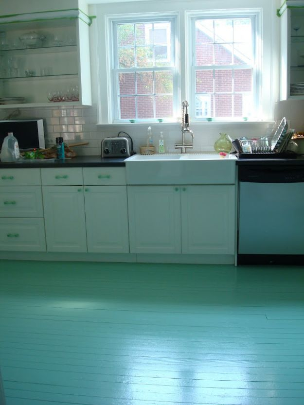 DIY Flooring Projects - DIY Painted Kitchen Floor For $50 - Cheap Floor Ideas for Those On A Budget - Inexpensive Ways To Refinish Floors With Concrete, Laminate, Plywood, Peel and Stick Tile, Wood, Vinyl - Easy Project Plans and Unique Creative Tutorials for Cool Do It Yourself Home Decor http://diyjoy.com/diy-flooring-projects