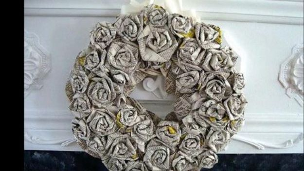 Rose Crafts - DIY Paper Roses Wreath - Easy Craft Projects With Roses - Paper Flowers, Quilt Patterns, DIY Rose Art for Kids - Dried and Real Roses for Wall Art and Do It Yourself Home Decor - Mothers Day Gift Ideas - Fake Rose Arrangements That Look Amazing - Cute Centerrpieces and Crafty DIY Gifts With A Rose http://diyjoy.com/rose-crafts