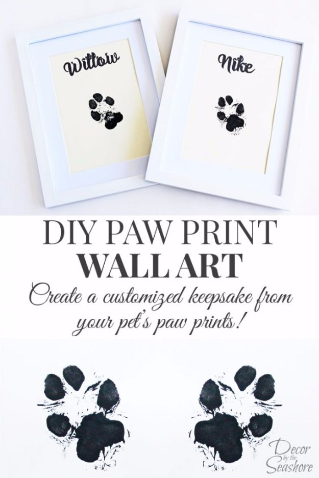 DIY Ideas With Dogs - DIY Paw Print Wall Art - Cute and Easy DIY Projects for Dog Lovers - Wall and Home Decor Projects, Things To Make and Sell on Etsy - Quick Gifts to Make for Friends Who Have Puppies and Doggies - Homemade No Sew Projects- Fun Jewelry, Cool Clothes and Accessories http://diyjoy.com/diy-ideas-dogs