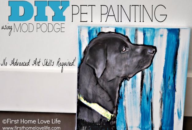 DIY Ideas With Dogs - DIY Pet Painting - Cute and Easy DIY Projects for Dog Lovers - Wall and Home Decor Projects, Things To Make and Sell on Etsy - Quick Gifts to Make for Friends Who Have Puppies and Doggies - Homemade No Sew Projects- Fun Jewelry, Cool Clothes and Accessories #dogs #crafts #diyideas