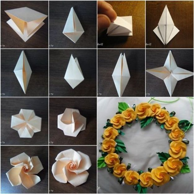 Rose Crafts - DIY Pretty Origami Twisty Rose - Easy Craft Projects With Roses - Paper Flowers, Quilt Patterns, DIY Rose Art for Kids - Dried and Real Roses for Wall Art and Do It Yourself Home Decor - Mothers Day Gift Ideas - Fake Rose Arrangements That Look Amazing - Cute Centerrpieces and Crafty DIY Gifts With A Rose http://diyjoy.com/rose-crafts