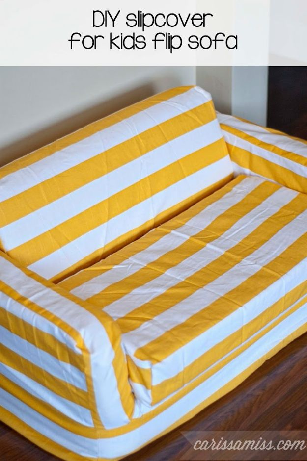 DIY Slipcovers - DIY Striped Slipcover For Kids Flip Sofa - Do It Yourself Slip Covers For Furniture - No Sew Ideas, Easy Fabrics Four Couch and Sofa Cover - Chair Projects and Ideas, How To Make a Slip cover with step by step tutorial and instructions - Cool DIY Home and Living Room Decor #slipcovers #diydecor