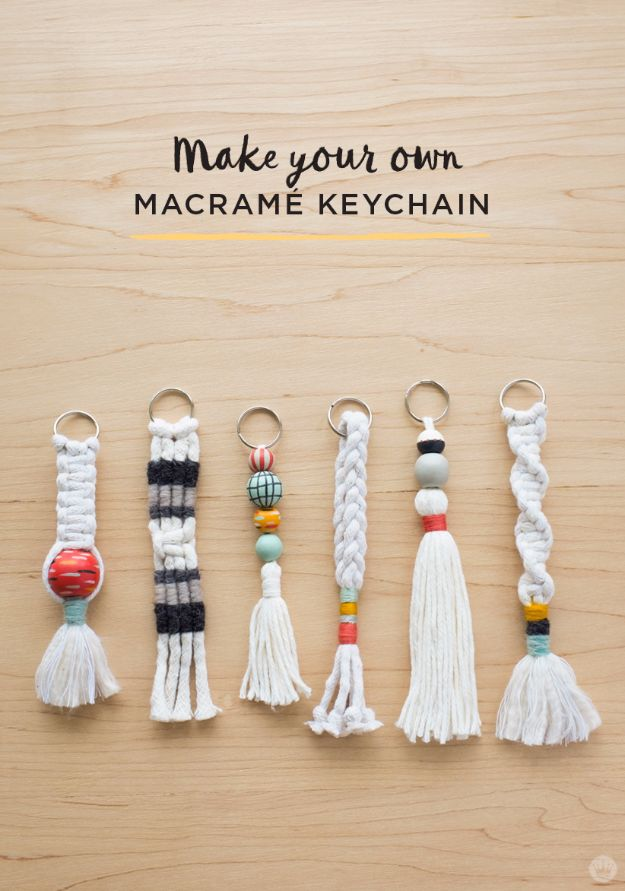 Macrame Crafts - DIY Tassel And Macrame Keychains - DIY Ideas and Easy Macrame Projects for Home Decor, Gifts and Wall Art - Cool Bracelets, Plant Holders, Beautiful Dream Catchers, Things To Make and Sell on Etsy, How To Make Knots for Your Macrame Craft Projects, Fun Ideas Even Kids and Teens Can Make #macrame #crafts #diyideas