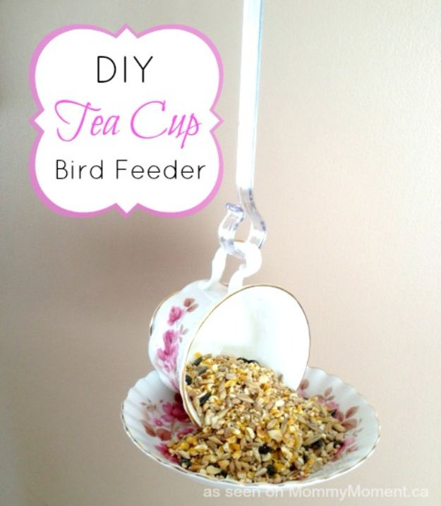 DIY Bird Feeders - DIY Tea Cup Bird Feeder - Easy Do It Yourself Homemade Bird Feeder Ideas from Mason Jar, Wooden, Wine Bottle, Milk Jug, Plastic, Dollar Store Supplies - Squirrel Proof, Unique and Creative Tutorials That Make Cool DIY Gifts #diyideas #birds
