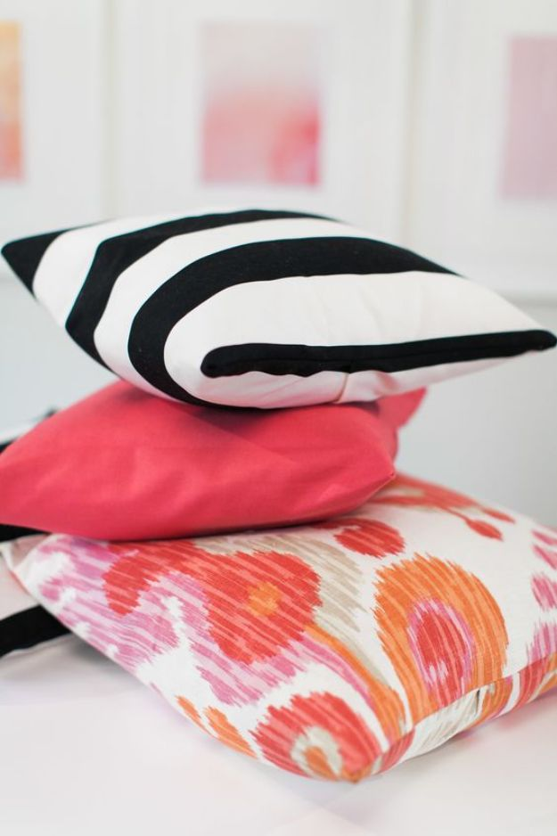DIY Slipcovers - DIY Throw Pillow Slipcover - Do It Yourself Slip Covers For Furniture - No Sew Ideas, Easy Fabrics Four Couch and Sofa Cover - Chair Projects and Ideas, How To Make a Slip cover with step by step tutorial and instructions - Cool DIY Home and Living Room Decor http://diyjoy.com/diy-slipcovers