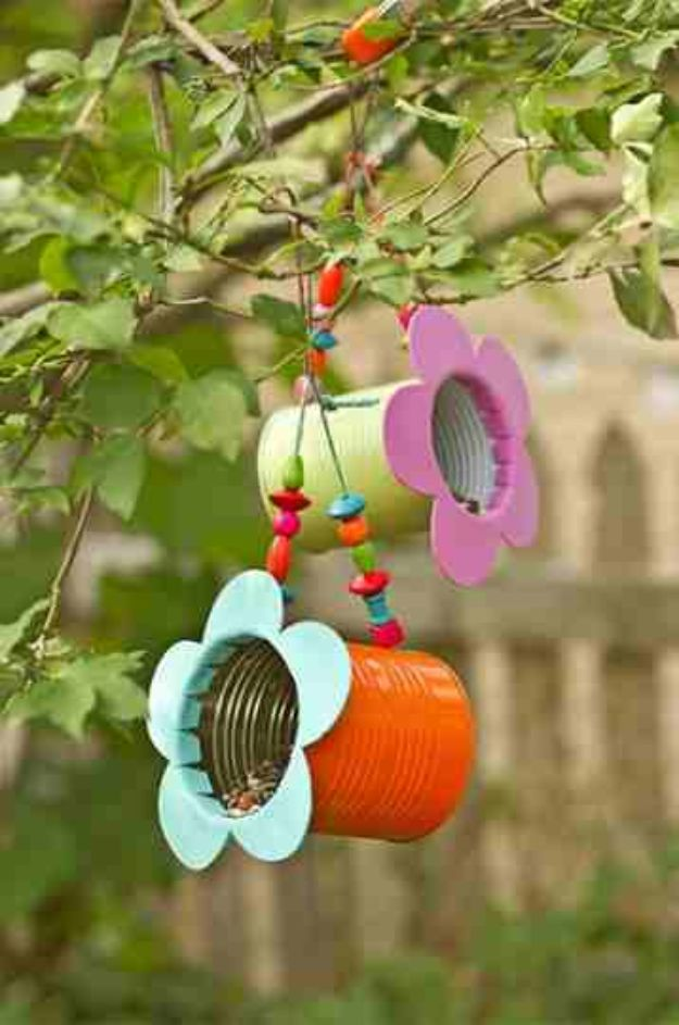 DIY Bird Feeders - DIY Tin Can Flower Bird Feeder - Easy Do It Yourself Homemade Bird Feeder Ideas from Mason Jar, Wooden, Wine Bottle, Milk Jug, Plastic, Dollar Store Supplies - Squirrel Proof, Unique and Creative Tutorials That Make Cool DIY Gifts #diyideas #birds