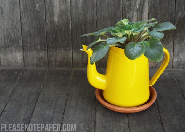 Container Gardening Ideas - DIY Upcycled Pitcher Planter - Easy Garden Projects for Containers and Growing Plants in Small Spaces - DIY Potting Tips and Planter Boxes for Vegetables, Herbs and Flowers - Simple Ideas for Beginners -Shade, Full Sun, Pation and Yard Landscape Idea tutorials http://diyjoy.com/container-gardening-ideas