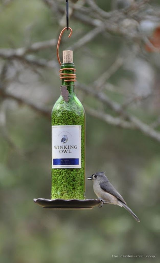 DIY Bird Feeders - DIY Wine Bottle Bird Feeder - Easy Do It Yourself Homemade Bird Feeder Ideas from Mason Jar, Wooden, Wine Bottle, Milk Jug, Plastic, Dollar Store Supplies - Squirrel Proof, Unique and Creative Tutorials That Make Cool DIY Gifts #diyideas #birds