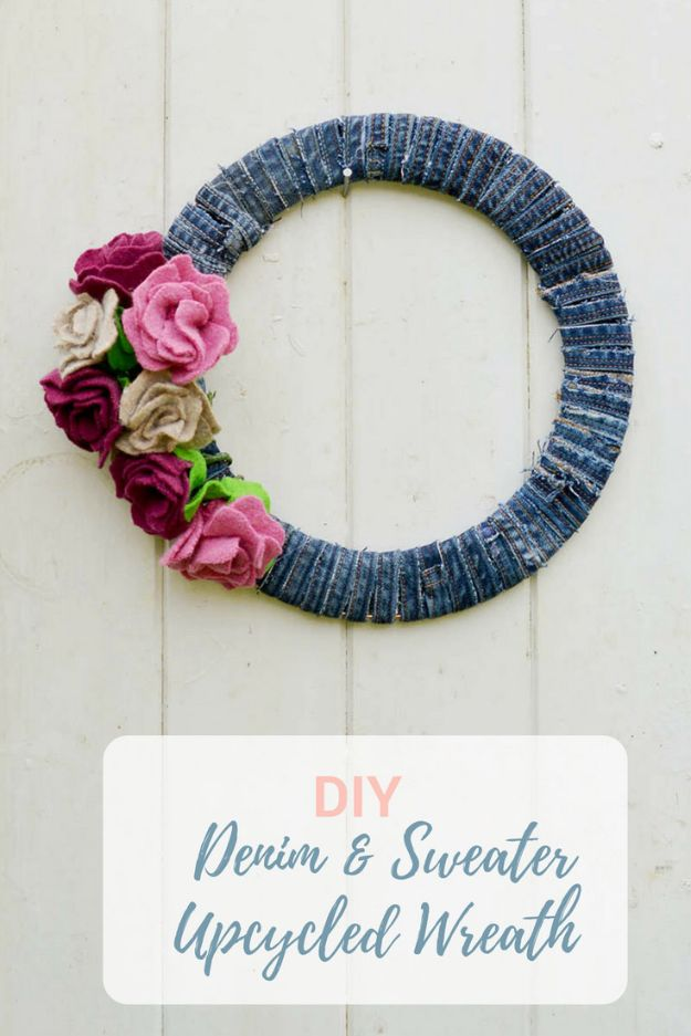Rose Crafts - Denim Wreath Felt Roses - Easy Craft Projects With Roses - Paper Flowers, Quilt Patterns, DIY Rose Art for Kids - Dried and Real Roses for Wall Art and Do It Yourself Home Decor - Mothers Day Gift Ideas - Fake Rose Arrangements That Look Amazing - Cute Centerrpieces and Crafty DIY Gifts With A Rose http://diyjoy.com/rose-crafts
