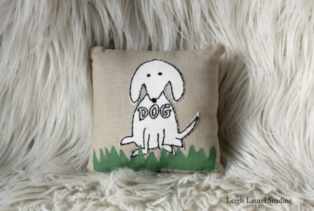 DIY Ideas With Dogs - Dog Embroidery Pattern & Mini Pillow - Cute and Easy DIY Projects for Dog Lovers - Wall and Home Decor Projects, Things To Make and Sell on Etsy - Quick Gifts to Make for Friends Who Have Puppies and Doggies - Homemade No Sew Projects- Fun Jewelry, Cool Clothes and Accessories #dogs #crafts #diyideas