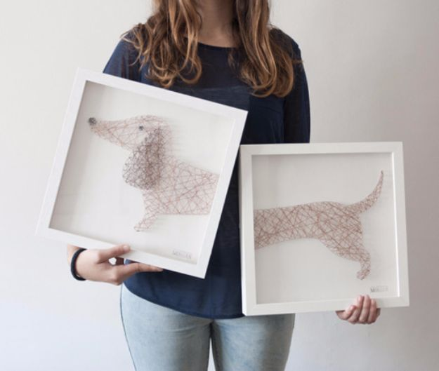 DIY Ideas With Dogs - Dog Nail String Artwork - Cute and Easy DIY Projects for Dog Lovers - Wall and Home Decor Projects, Things To Make and Sell on Etsy - Quick Gifts to Make for Friends Who Have Puppies and Doggies - Homemade No Sew Projects- Fun Jewelry, Cool Clothes and Accessories http://diyjoy.com/diy-ideas-dogs