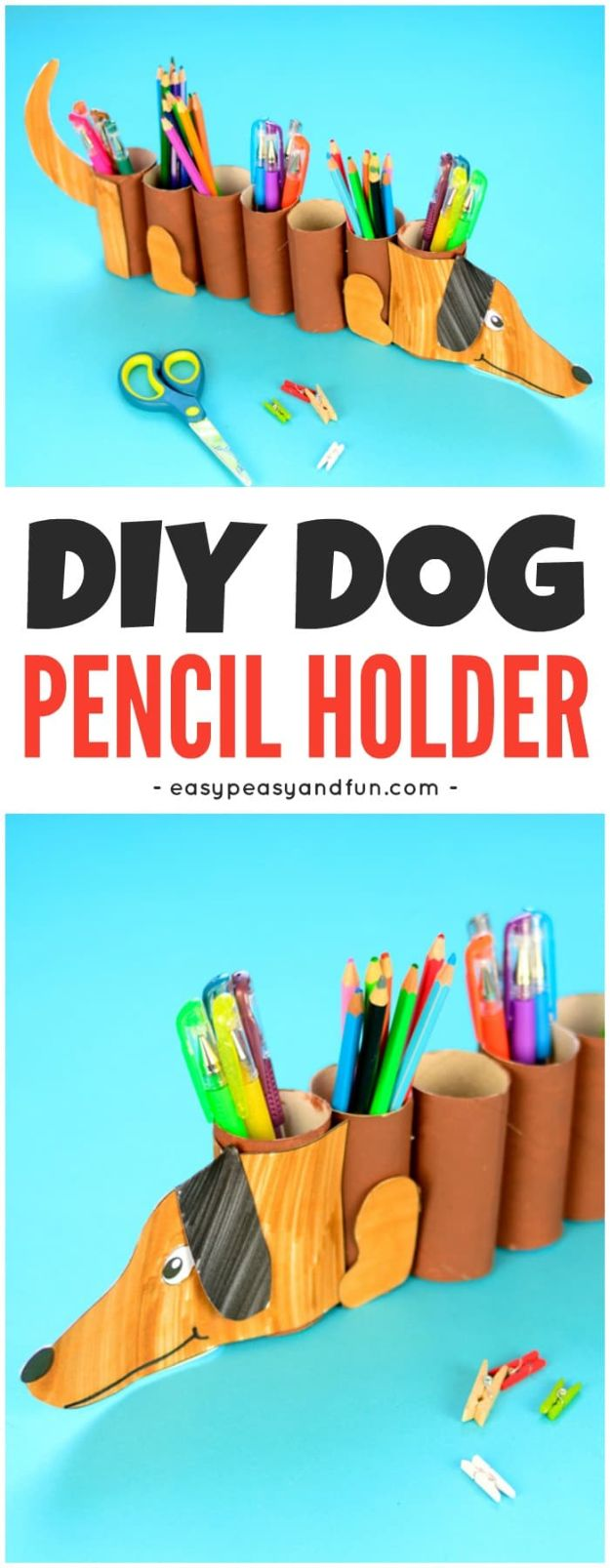DIY Ideas With Dogs - Dog Paper Roll Pencil Holder - Cute and Easy DIY Projects for Dog Lovers - Wall and Home Decor Projects, Things To Make and Sell on Etsy - Quick Gifts to Make for Friends Who Have Puppies and Doggies - Homemade No Sew Projects- Fun Jewelry, Cool Clothes and Accessories #dogs #crafts #diyideas