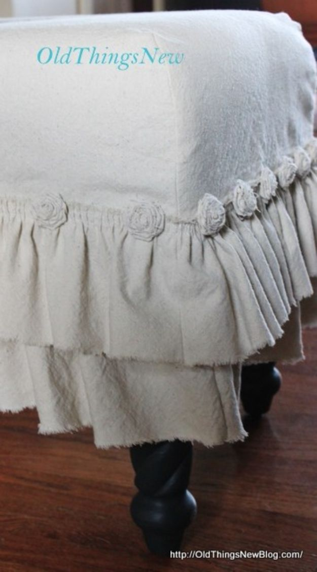 DIY Slipcovers - Drop Cloth Slipcover For Old Bench - Do It Yourself Slip Covers For Furniture - No Sew Ideas, Easy Fabrics Four Couch and Sofa Cover - Chair Projects and Ideas, How To Make a Slip cover with step by step tutorial and instructions - Cool DIY Home and Living Room Decor #slipcovers #diydecor