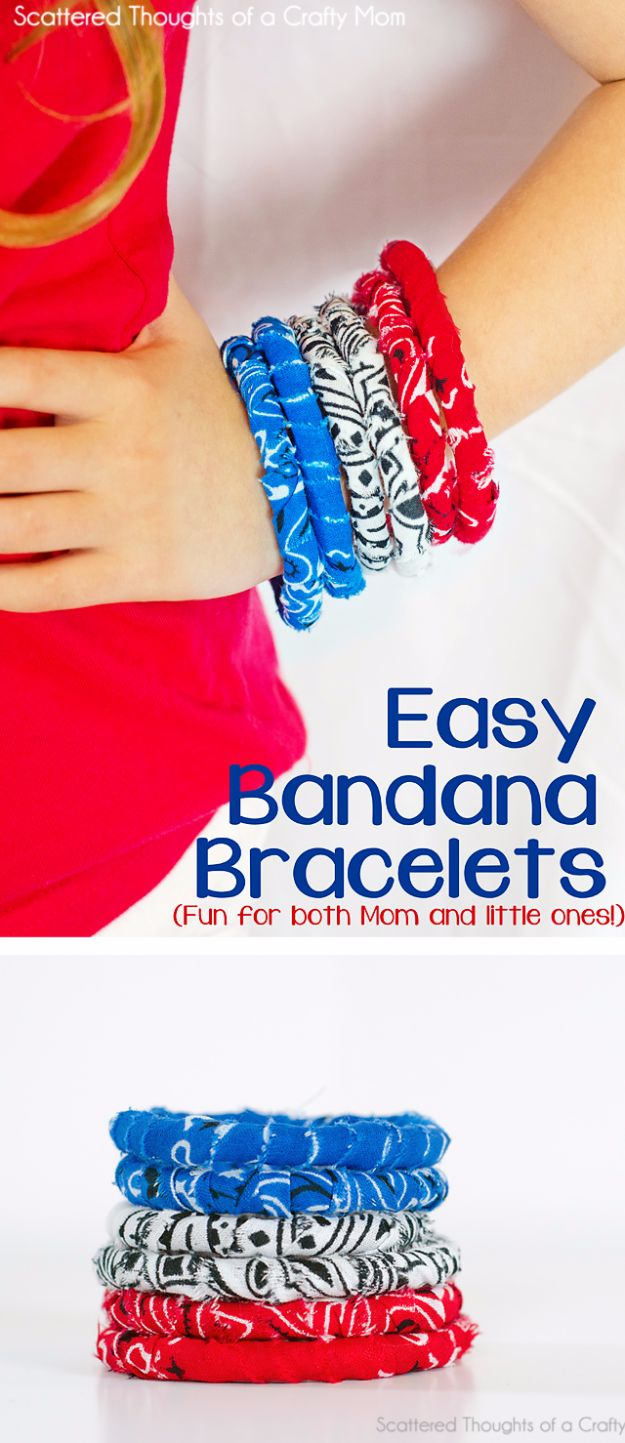 DIY Ideas With Bandanas - Easy Bandana Bracelets - Bandana Crafts and Decor Projects Made With A Bandana - No Sew Ideas, Bags, Bracelets, Hats, Halter Tops, Blankets and Quilts, Headbands, Simple Craft Project Tutorials for Kids and Teens - Home Decoration and Country Themed Crafts To Make and Sell On Etsy http://diyjoy.com/diy-ideas-bandanas